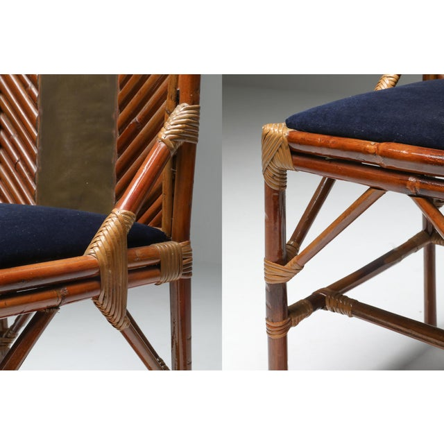 1970s Vivai Del Sud Dining Chairs in Bamboo, Brass & Blue Velvet - Set of 8 For Sale - Image 12 of 13