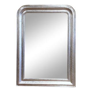 Mid-Century French Louis Philippe Silver Leaf Mirror With Engraved Stripe Decor For Sale