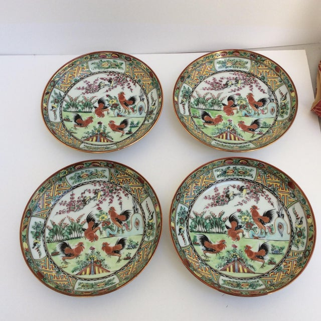 Great set of four Rooster themed Chinese shallow bowls or curved plates.