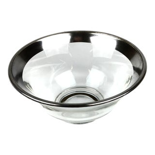 1950s Art Deco Crystal Sterling Silver Rim Nut Cup For Sale