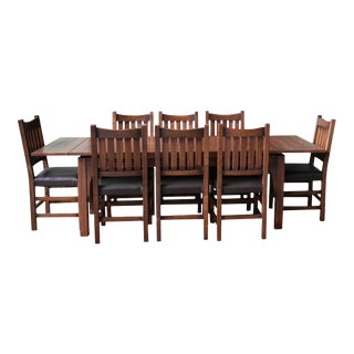 Crafters and Weavers Mission Stow Leaf Table With #240 Chair Dining Set - 9 Pieces For Sale