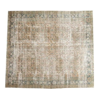 "Vintage Distressed Mahal Square Carpet - 10'4"" x 11'7"" For Sale"