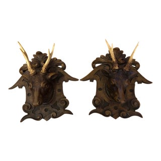Late 1800's Black Forest Carved Stag Heads - A Pair For Sale