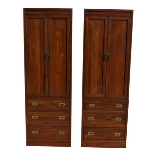 Late 20th Century Ethan Allen Canova Solid Cherry Campaign Style Clothing Armoires - a Pair For Sale
