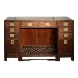 Image of Antique Fretwork Desk With Bronze Hardware and Drawers From China, 19th Century For Sale