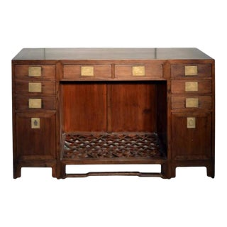 Antique Fretwork Desk With Bronze Hardware and Drawers From China, 19th Century For Sale