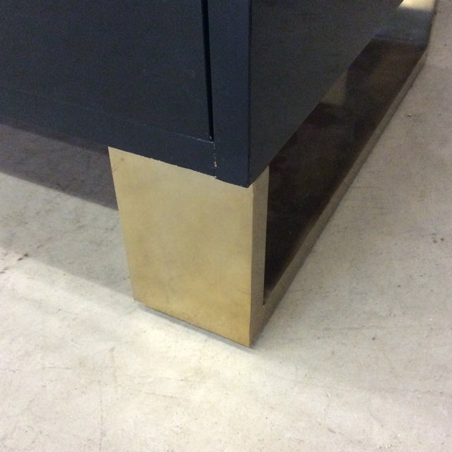 Brass Modern History Black Lacquer and Brass Abstract Credenza For Sale - Image 7 of 12