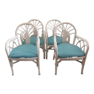 1970s Vintage Ficks Reed Rattan Arm Chairs- Set of 4 For Sale