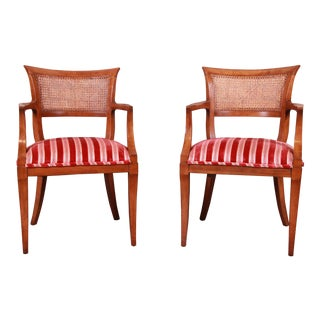 Kindel Furniture Regency Cane Back Armchairs, Pair For Sale