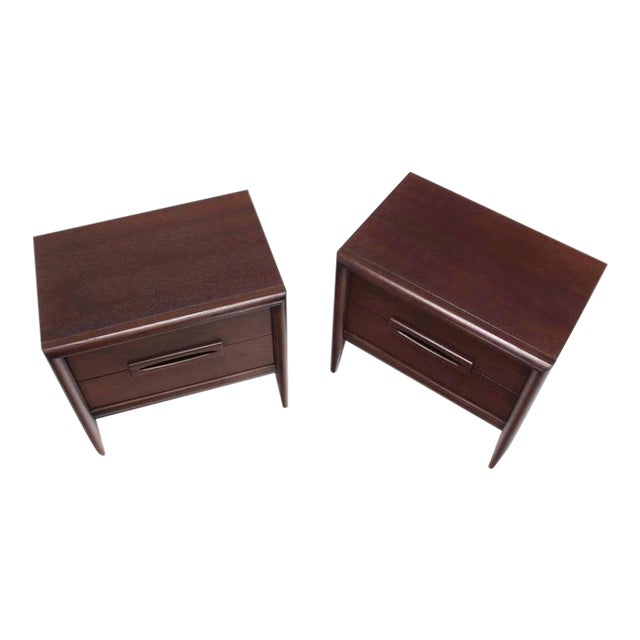 Pair of Walnut Mid-Century Nightstands For Sale