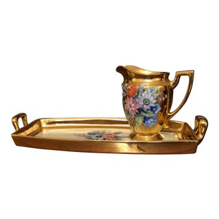 Early 20th Century Antique Noritake Porcelain Hand Painted Gold Tray & Pitcher - 2 Pieces For Sale