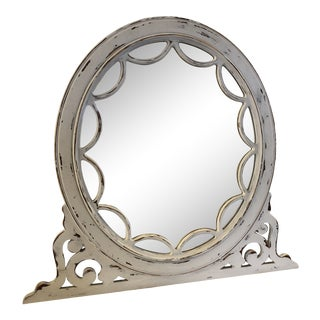 Vintage White Distressed Ornate Circular Mirror For Sale