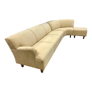 Three-Piece Curved Suede Leather Sectional Sofa Vladimir Kagan Midcentury