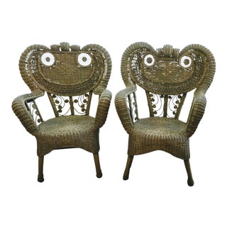 Late 19th Century Vintage Wicker Heywood Wakefield Chairs- A Pair For Sale