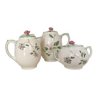 1940s Vintage English Ambassador Ware Ceramic Dogwood Tea Set of 3 For Sale