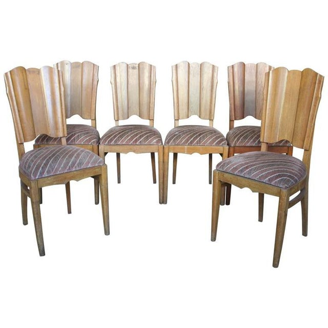 Set of Six Linen Fold Oak Side Chairs - Image 8 of 8