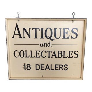 Vintage Wood Antiques & Collectables Sign For Sale