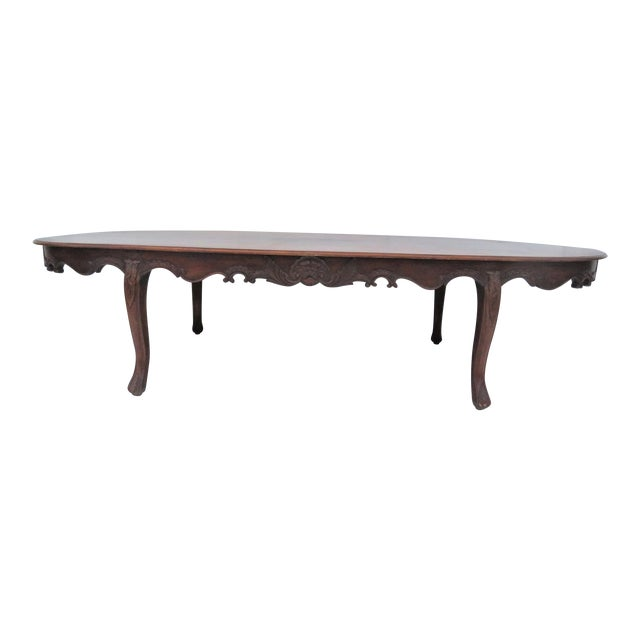 Carved Mahogany Oval Conference Table Chairish - Conference table width