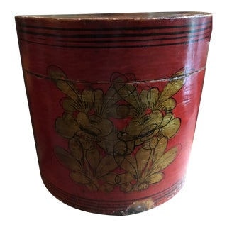 1920s Antique Red Hat Box For Sale
