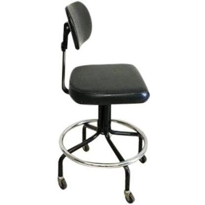 Mid-Century Black Vinyl Industrial Chair - Image 1 of 6