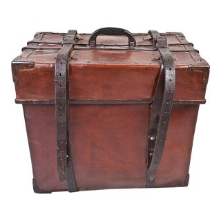 Cured Leather Steamer Trunk Early, 1900s For Sale