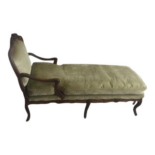 Late 18th Century French Walnut & Green Velvet Chaise Lounge For Sale