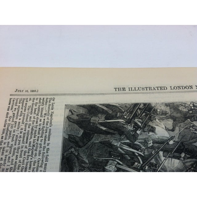 """1859 Antique """"The Emperor of the French on the Battle-Field of Solferino"""" The Illustrated London News Print For Sale - Image 4 of 5"""