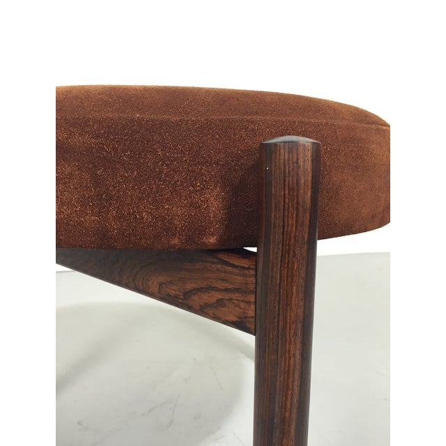Danish Suede and Rosewood Stool - Image 3 of 6