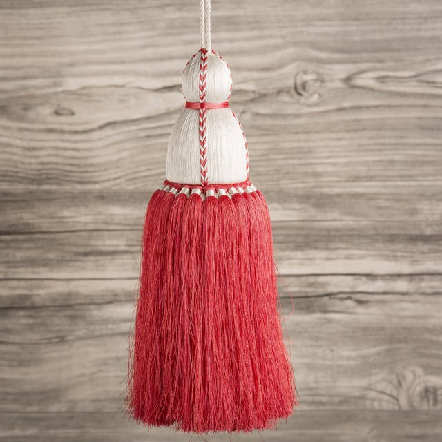 Traditional White & Coral Tassel, Large For Sale - Image 3 of 3