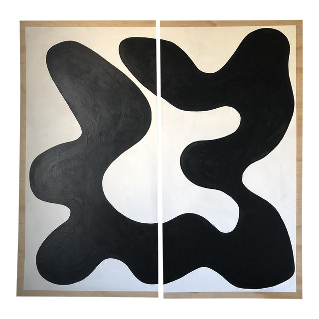 Animalia Black and White Abstract Acrylic Diptych Painting For Sale