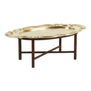 Hollywood Regency Oval Brass Tray Table For Sale
