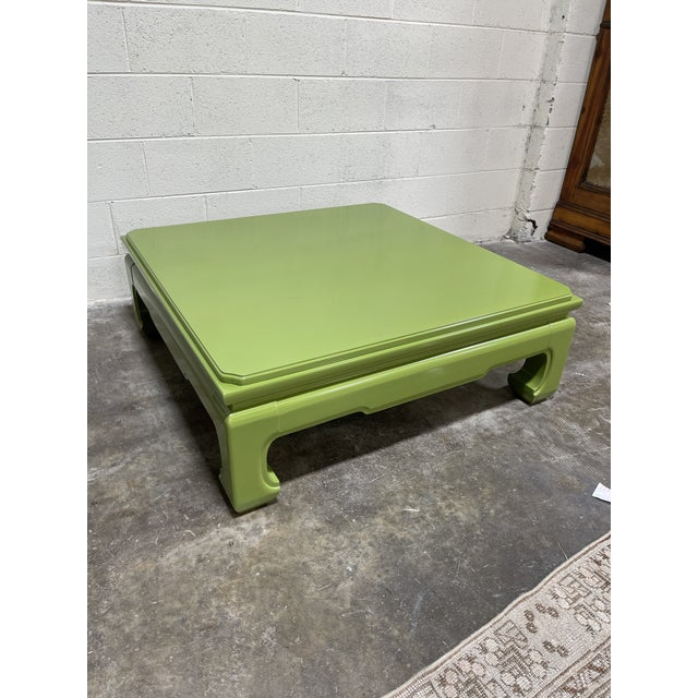 Avocado Lacquered Vintage Henredon Ming Table For Sale - Image 8 of 8