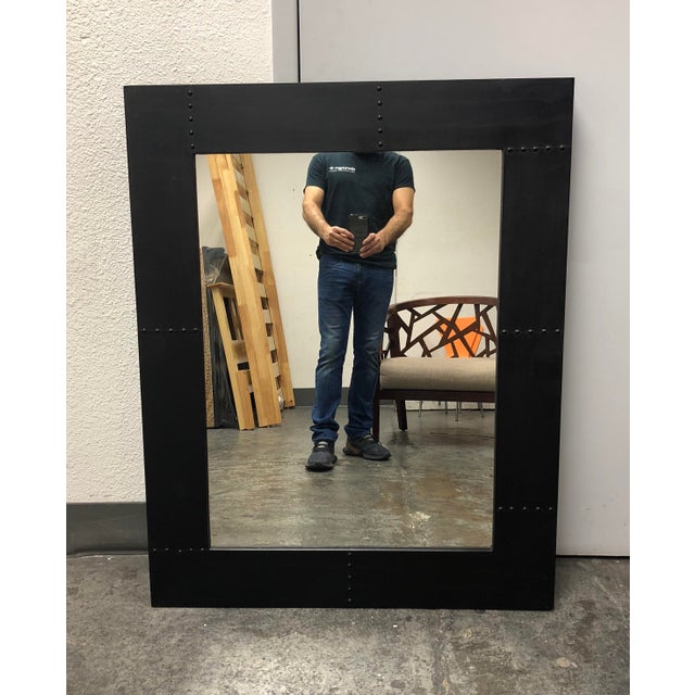 Glass Rustic Style Wood + Metal Wall Mirror For Sale - Image 7 of 7