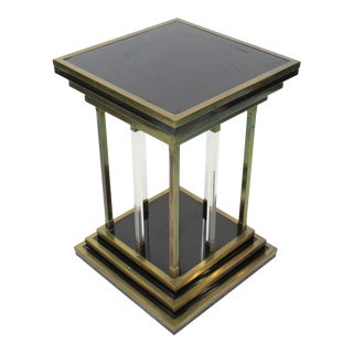 1960s Modernist Bronze and Lucite Pedestal For Sale