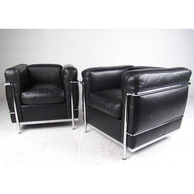 Cassina Le Corbusier Lc Leather and Chrome Living Room Set for Cassina For Sale - Image 4 of 12