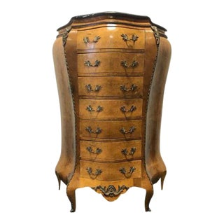 19th Century French Louis XV Style Marble Top Bombe Burl Semainier Tall Chest