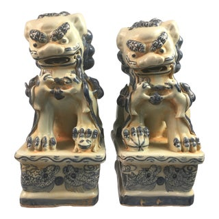 Asian Antique Blue and White Foo Dogs - a Pair