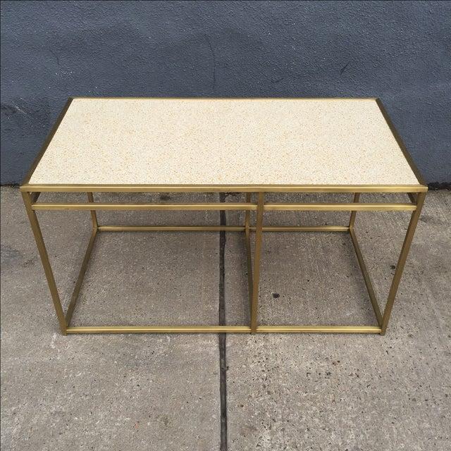 Paul Laszlo Paul Laszlo Custom Brass and Terrazzo Table For Sale - Image 4 of 8