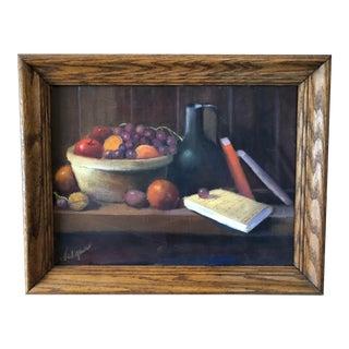 Vintage Still Life Fruit Bowl Painting For Sale