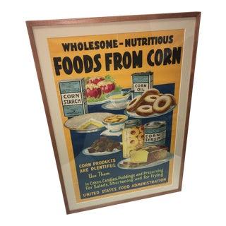 "1918 Lloyd Harrison WW1 ""Food From Corn"" Poster For Sale"