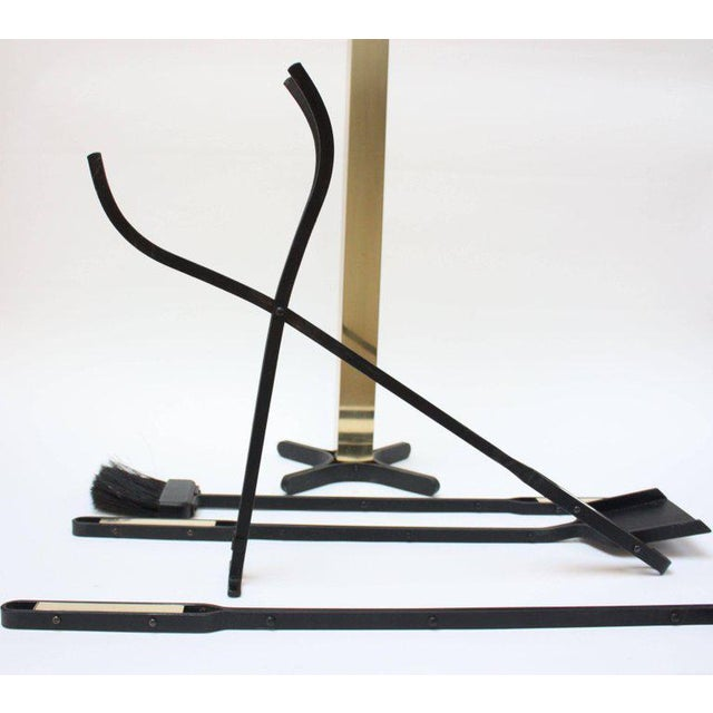 Mid-Century Modern Wrought Iron and Brass Firetools - Image 8 of 11