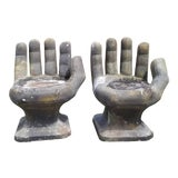 Image of 1970s Vintage Sculptural Outdoor Decor Concrete Hand Chairs- a Pair For Sale
