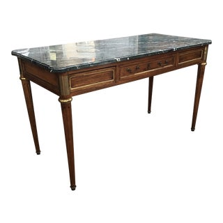 1900s Louis XVI Mahogany Marble Top Writing Desk For Sale