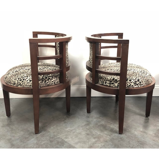 Hollywood Glam Leopard Print Barrel Back Chairs - a Pair For Sale - Image 4 of 8