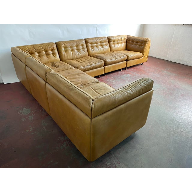 Vatne Mobler vintage leather sectional sofa, circa 1970's. Very nice worn leather patina. Metal legs. Made in Norway. Sofa...