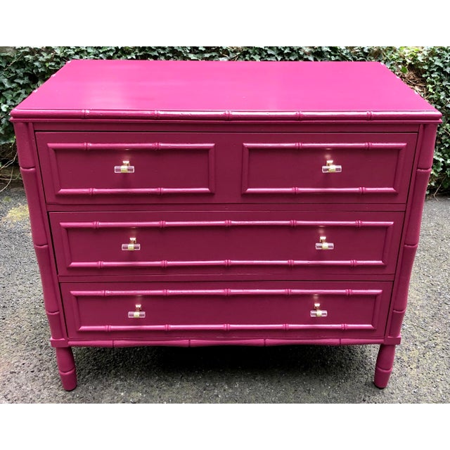 Stunning faux bamboo bachelor chest. Three nice size drawers for storage. Finish has been given new life with a striking...