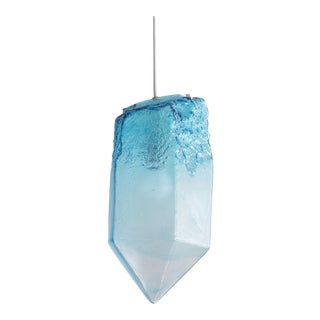 Illuminated hand-blown turquoise glass Crystal pendant by Jeff Zimmerman For Sale