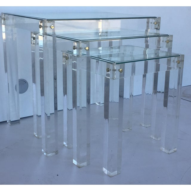 Mid 20th Century Set of Vintage Lucite and Glass Nesting Tables For Sale - Image 5 of 10