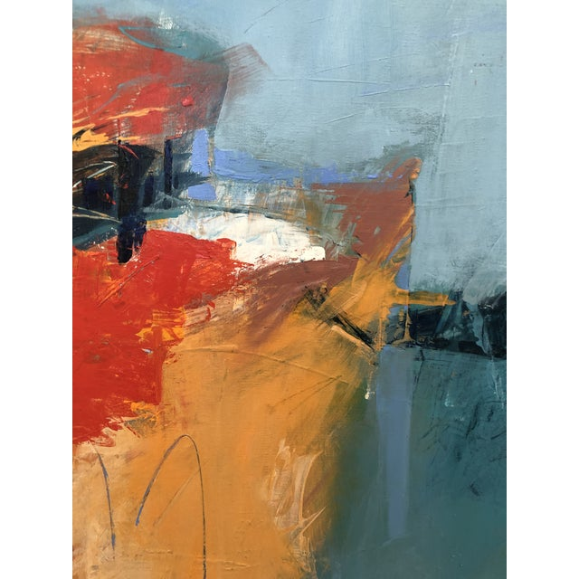 A beautiful, bright abstract painting with interesting texture and detail scratched into the surface of the paint with an...
