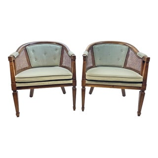 Mid Century Upholstered Cane & Wood Barrel Chairs - A Pair